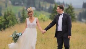Casandose pares camina en montañas almacen de metraje de vídeo