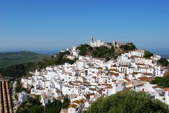 Casares Pueblo Blanco. View of the town and surrounding countryside, pueblo blanco, Casares, Costa del Sol, Malaga Province, Andalucia, Spain, Western Europe Stock Photo