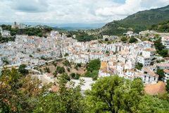 Casares, Spain. Panoramic view of Casares, one of the so-called white cities or pueblo blanco in the province of Malaga, Andalusia region, south of Spain Stock Photo