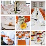 Casarse el collage del banquete Fotografía de archivo