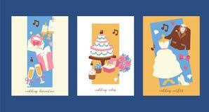 Casarse el ejemplo del vector de las tarjetas de la invitación Decoración, tortas, equipos para la novia y novio del matrimonio c stock de ilustración
