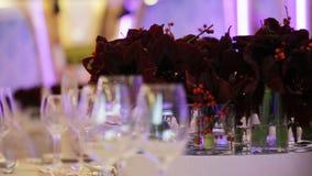Casarse el interior del pasillo del banquete almacen de metraje de vídeo