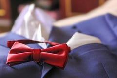 Casarse el lazo de mariposa del traje Foto de archivo
