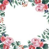 Casarse el marco nupcial de la guirnalda ornamento rojo y rosado y verde de las flores stock de ilustración