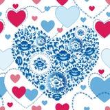 Casarse el modelo inconsútil romántico con los corazones, flores en estilo retro Fotografía de archivo libre de regalías