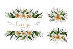 Casarse el ramo y las letras florales del lirio de la tarjeta de la invitación