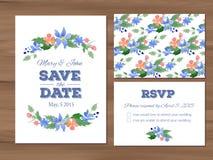 Casarse el sistema con las flores de la acuarela y los elementos tipográficos Fotos de archivo