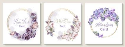 Casarse el sistema de tarjeta de la invitación con la acuarela púrpura del vector de las flores de las flores de la peonía Ahorre stock de ilustración