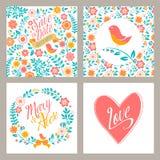 Casarse el sistema de tarjetas de la invitación con las flores y stock de ilustración