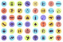 Casarse el sistema del icono y del pictograma Fotografía de archivo