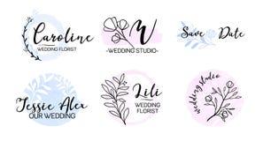 Casarse el sistema del logotipo del monograma del planificador de eventos ilustración del vector