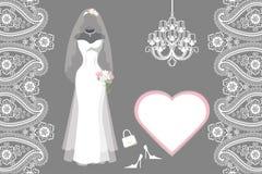 Casarse el vestido nupcial con el marco, etiqueta, Paisley Fotografía de archivo libre de regalías