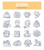 Casarse iconos del garabato ilustración del vector