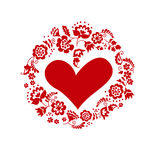 Casarse la guirnalda con el corazón orname ucraniano europeo tradicional ilustración del vector