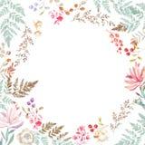 Casarse la invitación, floral invita a la tarjeta, a las flores rosadas y a las hojas verdes geométricas Marco verde oliva de la  stock de ilustración