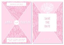 Casarse la tarjeta de la invitación con el calendula rosado ilustración del vector