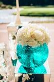 Casarse las decoraciones florales para la ceremonia Imagenes de archivo