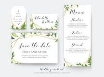 Casarse reserva floral la fecha, menú, coloca la tarjeta y etiqueta la plantilla stock de ilustración