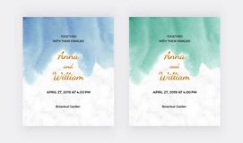 Casarse tarjetas de la invitaci?n con textura azul, verde de la acuarela Plantilla moderna de la pintura de la mano para la bande libre illustration