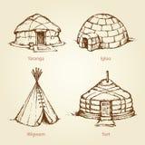 Casas étnicas de nações diferentes Desenho do vetor ilustração do vetor