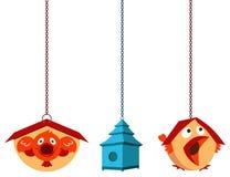 Casas únicas del pájaro stock de ilustración