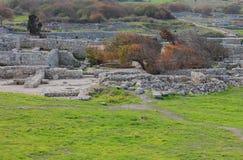 Casas abandonadas de la civilización antigua en Crimea Foto de archivo libre de regalías