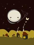 Casas abstractas con la Luna Llena Fotos de archivo libres de regalías