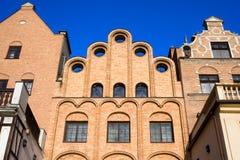 Casas adornadas en Gdansk Imagen de archivo libre de regalías