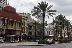 Casas agradáveis, históricas nas ruas de Nova Orleães fotografia de stock