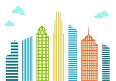 Casas altas brillantes de líneas y de rayas con las nubes azules Multic stock de ilustración