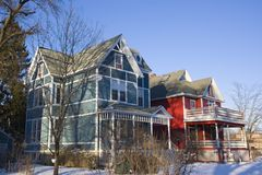 Casas americanas coloridas Imagens de Stock Royalty Free
