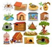 Casas animais isoladas em um fundo branco ilustração royalty free