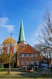 Casas antiguas en la ciudad de Travemunde, Alemania Fotografía de archivo libre de regalías