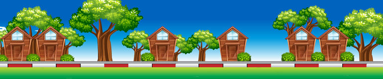 Casas ao longo da rua ilustração royalty free