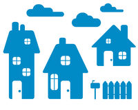Casas azules Imagen de archivo libre de regalías