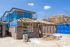 Casas bajo construcción Fotografía de archivo libre de regalías