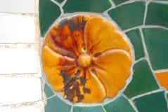 Casas Battlo Barcelona de Gaudi del detalle del mosaico foto de archivo libre de regalías