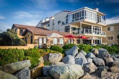 Casas beira-mar na praia imperial, Califórnia fotos de stock royalty free