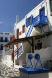 Casas blanqueadas, Mykonos, Grecia Foto de archivo libre de regalías