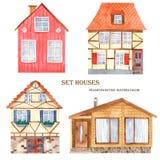 Casas bonitos da aquarela ajustadas ilustração do vetor