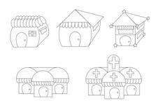 Casas bonitos lineares dos desenhos animados Imagem de Stock
