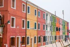 Casas Burano, Italia Fotos de archivo libres de regalías