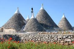 Casas cônicas do trulli com as papoilas em Puglia Foto de Stock Royalty Free