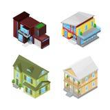 Casas clásicas y modernas fijadas ejemplo aislado vector isométrico del estilo 3d Iconos de Real Estate stock de ilustración