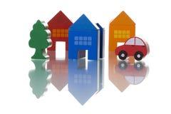 Casas, coche y árbol Imágenes de archivo libres de regalías