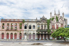 Casas coloniais mórbidos do estilo em Manaus, Brasil fotos de stock royalty free