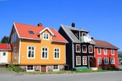 Casas coloreadas de Kabelvoag en Lofoten Foto de archivo