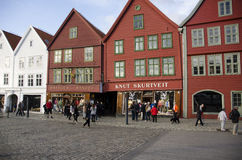 Casas coloreadas viejas de Bergen, Noruega Fotografía de archivo libre de regalías