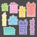 Casas coloridas ajustadas Imagens de Stock Royalty Free