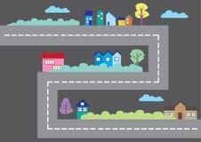 Casas coloridas ao longo da ilustração do vetor do mapa da cidade dos desenhos animados da estrada Imagem de Stock Royalty Free